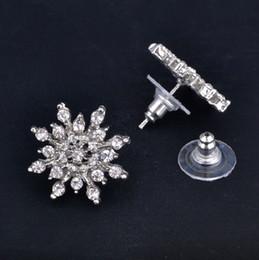 New Silver Jewelry 30% White Silver Copper Plated Zircon Stud Earrings Snowflake Earrings Women Wedding Gifts OJ
