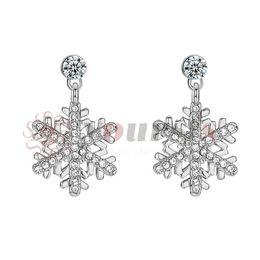 Yoursfs Women Luxury Crystal Silver Color Flower Stud Earrings snowflake Wedding Party Earring Bijouterie