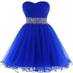 2018 Cheap Homecoming Dresses Royal Blue 2017 Elegant Beaded Short Prom Gowns Lace Up Party Dress 100% Real cocktail dress