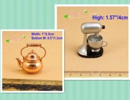 Wholesale Miniatures Stand Mixer Brass Kettle Dollhouse Kitchen Cookware