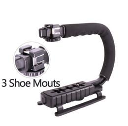 Plates-formes de caméra pour dslr en Ligne-2017 Plus récent U-Grip Triple Chaussure Vidéo Montée Action Stabilisante Poignée Grip Rig pour Canon Sony DSLR Camera, pour iPhone 7 plus Téléphone Smartphone