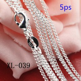 Wholesale 5PCS New Fashion Unisex Silver Necklace For Mens Women Anti allergy Sterling Silver Jewelry
