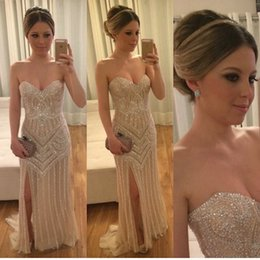 2017 Stunning Major Beadings Crystals Prom Dresses Sexy Mermaid Sweetheart Split Evening Gowns Luxury Red Carpet Party Dresses Long