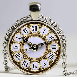 Compra Online Mujer del reloj del collar-Vintage Collar Pendiente Reloj Patrón Bronce Plated Tiempo Vidrio Aleación Joyas Punk Vintage Collar Punk Style Women Gifts