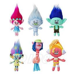 Wholesale 2016 Movie Trolls Plush 6 Style Poppy Branch Plush Stuffed Toy Christmas Gifts For Children ( 6pcs Lot   Size 23-30cm) -D006