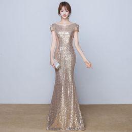 Scoop Neck Sequins Mermaid Evening Dresses 2018 New Short Sleeves Long Evening Gown Elegant Bridesmaid Dress