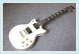 Cuerpo sg en Línea-Tienda personalizada Johnna A YMH SG Doble Cutaway Guitarra Eléctrica Blanco Acabado Abalone Cuerpo Push Push / Pull Pot Gold Hardware Ebony Diapasón