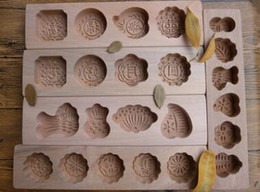 Wholesale Wood baking mold ice skin moon cake dessert mung bean cake pumpkin biscuits cake steamed bread porous die