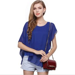 Wholesale Cheap 2017 New Fashion Summer Women O-neck Sleeveless Falbala Batwing Chiffon Shirt White Blue Woman Casual Blouse T-shirt