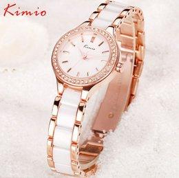 Promotion regarder rose d'or Kimio Marques de Mode Meilleures Femmes Rhinestone Rose Bracelet D'or Montres-bracelets Horloges Femmes Cadeau XFCS