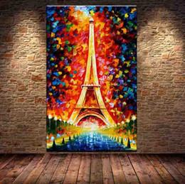 Promotion ville peintures à l'huile de paysage Pas de cadre 100% faite à la main Ville romantique Paris Tour Eiffel Peinture à l'huile de peinture à l'huile Couteau main peintures
