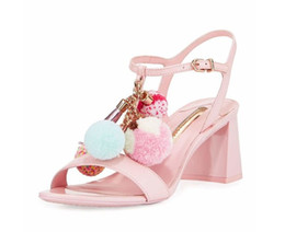 Promotion chaussures t tendre talons Sweet Design Pink Silvet Brown Girls Sandales Ball Flower Med Chunky talons Cuir véritable Gladiators d'été Femmes Chaussures T Show
