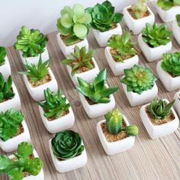 Wholesale 30 Styles Artificial Plants with Vase Bonsai Tropical Cactus Fake Succulent Potted Office Home Decorative Flower Pots ZA1846