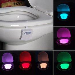 Wholesale Toilet LED light Body Motion Sensor PIR Sensor Toilet Seat LED light Lamp Motion Activated Toilet Bowl Night Light colors DHL free