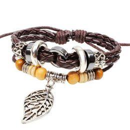 Bracelet Infinity Bracelet Bohémien Multicouleur Bois Perlé Vert Feuille Cuir Fabriqué À La Main Tissé Bracelet Bracelet Alliage Érable Style Chaud handmade wooden bracelets deals à partir de bracelets en bois faits à la main fournisseurs
