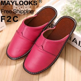Free Shipping Genuine Leather Women Slippers Spring Autumn Home Slippers High Quality Women Shoes Home Floor Shoes