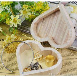 Almacenamiento de maquillaje de madera en Línea-Cajas De Almacenamiento Portátiles De Forma De Corazón Caja De Madera Caja De Joyería Hardware De Regalo De Boda De Maquillaje Almacenamiento Bin Pendientes Organizador De Anillo