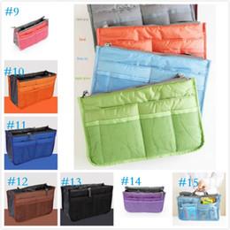 2017 bolsas de bolsillos 15 colores bolsa en el bolso de doble inserción de múltiples funciones bolsa de maquillaje bolso bolso organizador bolsas de bolsillos en oferta