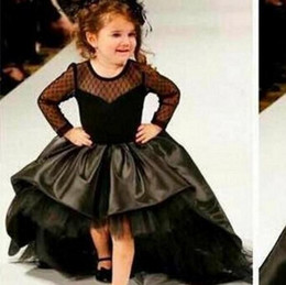 Wholesale Fashion Short Front Long Back Black Flower Girl Dresses Transparent Wave Point Lace Full Sleeve Girls Pageant Dress Party Gown