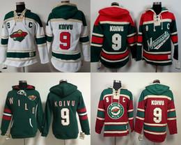 2016 New Minnesota Wild Jersey Sweatshirts Mens 9 Mikko Koivu Ice Hockey Hoodies Green Red White Old time Ice Hockey Jersey