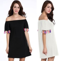 Europe and the United States summer sales of new dress, color fringed short sleeves, a word shoulder, loose skirts