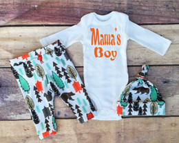 2017 INS Baby Boy Spring Autumn clothes cotton outfits 3piece set Pajamas PJ'S Long Sleeve Romper Jumpsuits + pants + hats - Mama's Boy