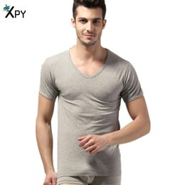 [XPY]Summer short - sleeved t - shirt sexy round neck Slim pure color cotton primer shirt youth T - shirt men 's wholesale