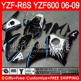 8Gifts 23Colors Body For YAMAHA YZF R6 S YZFR6S 06 07 08 09 57HM24 black white YZF600 YZF R6S 06-09 YZF-R6S 2006 2007 2008 2009 Fairing kit