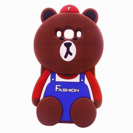 Wholesale 3D Cartoon Bars Brown Bear cute soft silicone case for iphone plus plus mobile phone accessories J5 J7 J1