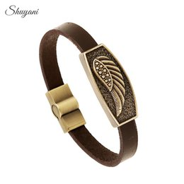 Wholesale Feather Angel Wings Charms Bracelet Femme Male Antique Copper Magnet Button Leather Bracelet Ethnic Jewelry Making