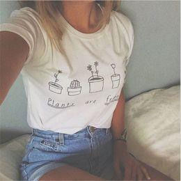 2016 shirt de douille d'impression des animaux gros Grossiste-Nouvelle Mode Eté T-shirt Femmes 2016 Les plantes sont des amis imprimés Graphic Tees Femmes à manches courtes T-shirts Casual peu coûteux shirt de douille d'impression des animaux gros