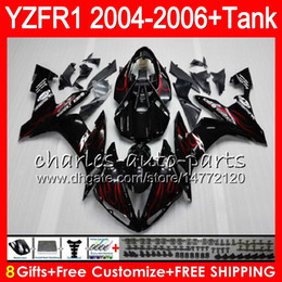 8Gift 23Color Body For YAMAHA YZF1000 YZFR1 04 05 06 YZF-R1000 58HM3 red flames YZF R 1 YZF 1000 YZF-R1 YZF R1 2004 2005 2006 Fairing kit