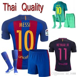 Wholesale 2016 adult Coat pants socks kit t shirts futbol shirts BARCELONA A INIESTA JORDI ALBA Jersey SUAREZ messi BUSQUETS Jersey shirt