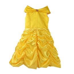 2017 movie Beauty and the Beast Princess Belle Kids cosplay costume girl yellow wedding dress free shipping