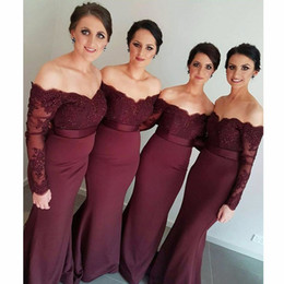 Burgundy Lace Appliques Long Sleeves Mermaid Bridesmaid Dresses 2017 Sexy Sweetheart Off the Shoulder Sheer Illusion Bridal Prom Gown