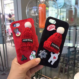 Wholesale For iphone plus s CaseChristmas cute little red hat mobile phone Case plush handmade protective cover with opp package