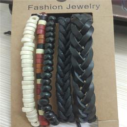 Hot Abacus chanceux, tube, perles rondes en bois bracelet homme et bracelet en cuir véritable lace-up à la main et corde stand bracelet mâle à partir de bracelets en bois faits à la main fabricateur