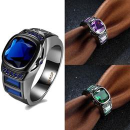 Wholesale 3Pcs Bleu Vert Purpe Carré Zircon Anneaux K Or Noir Plaqué Mâle Doigt Anneaux De Mariage Pour Les Hommes Bijoux De Mode Charme