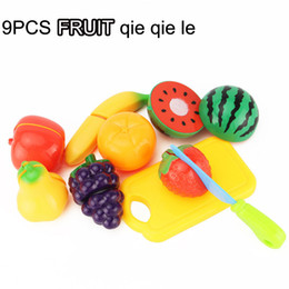 9 PCS plastic Fruit cutting toy funny kitchen play set preschool toys pretend plays qie qie le foods brinquedos de menina new gifts for kids