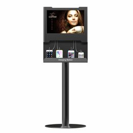 Wholesale OB TV7 Floor Stand LCD Screen Multimedia Advertising Charging Station For Smartphones Tabletfor All Devices iPhone iPad Samsung Galaxy