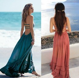 Promotion femme sexy Vente en gros - Robe d'été Femmes Bohemian sans manches Robes sexy Robe Boho Blackless Party Hippie Bandage Beach Dress Vestidos