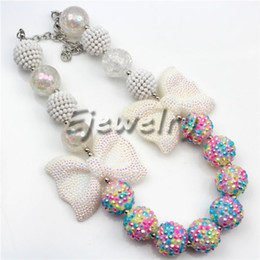 Fashion Jewelry White Butterfly Easter Rhinestone Egg Beads Chunky Bubblegum Kids necklace CB692