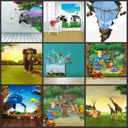 Wholesale custom x150cm cartoon D animals studio photography vinyl backdrops for children photos camera baby props digital background