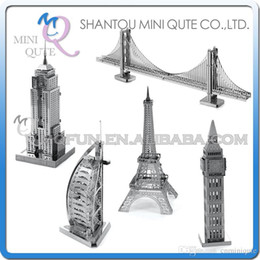 Wholesale DHL Piece Fun D World architecture Empire State building Big Ben Eiffel Tower Metal Puzzle adult models educational toy