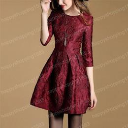 Descuento damas mini vestido vestido Vestidos de moda de la flora de las mujeres de la manera Las señoras populares ocasionales A - alinean los vestidos para el vestido de bola del otoño viste la alta calidad
