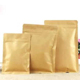 Wholesale Biger Kraft Paper Flat Bottom Valve Bags Dried Fruits Food Tea Pouches Recloseable Yellow Kraft Pack Bags Inside Aluminum Foil