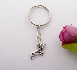 Wholesale 2015 Hot Sell Vintage Silver Sausage dog Charm Keychain Gifts Fit DIY Key Chains Key Ring Fashion Jewelry F716