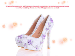 2017 perles de diamants talons hauts Mode Luxurious Purple Diamond Wedding Chaussures Ultra High Talon Belle Chaussures pour la mariée Pearl Party Prom Chaussures perles de diamants talons hauts autorisation