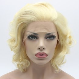 Iwona Hair Wavy Short Blonde Wig 24#613 Half Hand Tied Heat Resistant Synthetic Lace Front Wig