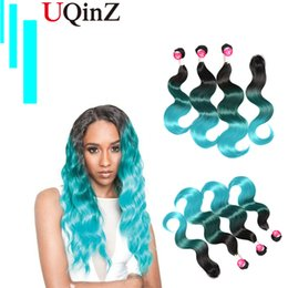 Brazilian Body Wave Hair extensions 3 Bundles Ombre Bulack to Blue Hair Weave 4 Piece With 16 18 20 inches 210g By Uqinz